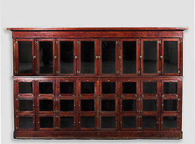GIGANTIC 12ft ANTIQUE GENERAL STORE APOTHECARY CABINET w/ 32 Doors!