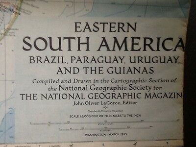 National Geographic Society Map Eastern South America Brazil March 1955 Vintage
