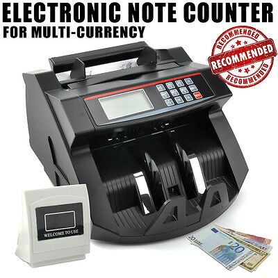 Money Bill Currency Counter Counting Machine Fast Fake Counterfeit Detector Cash