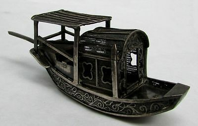 Antique Chinese Silver Rare Miniature Junk Ship