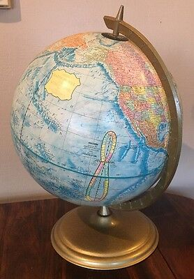 "Vintage CRAM'S ""Earth Profile"" 12"" World Globe W/Metal Base"
