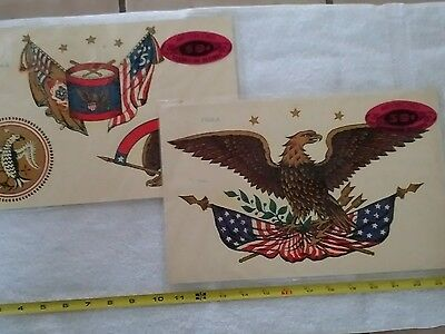 Lot of 2 Rare Vintage Meyercord Decals ~ American Eagle 1104-A & Patriot 1104-B