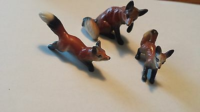 Bone China Miniature Fox Family Figurines - vintage 1960's