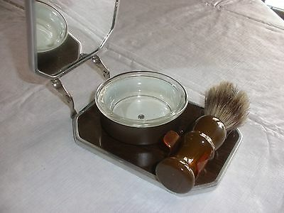 Vintage Strong Shaving Set Fold Up Mirror, Horse Hair Brush and Glass Cup