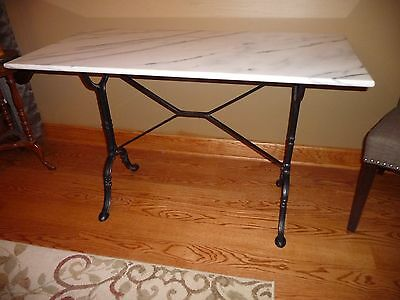 Vintage French Bistro Marble Top Console Table CAST IRON LEGS BASE ANTIQUE METAL