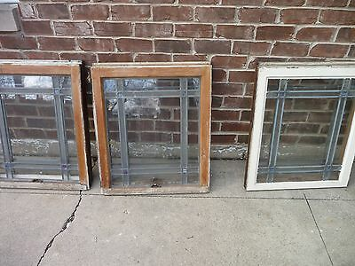 1 of 7 Antique Chicago Bungalow Style Stained Leaded Glass Window 1920s Vintage
