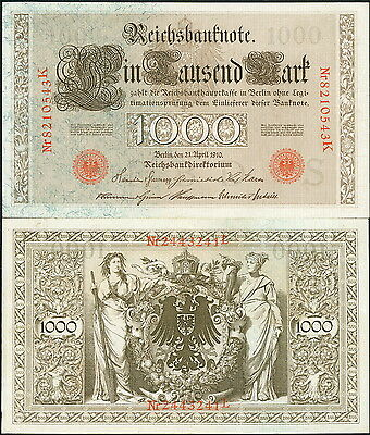 GERMANY LARGE BEAUTIFUL OLD 1910 PRE-WWI 1000 MARK CURRENCY BANKNOTE P-44b - EF!