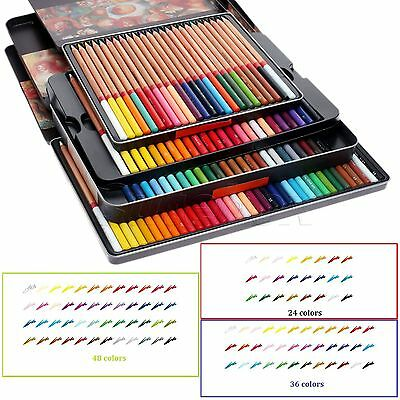 School Home Artist Use 24/36/48 Colors Drawing Sketching Pencils Set & Metal Tin