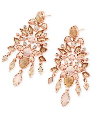 Kendra Scott Aryssa Statement Earrings in Rose Gold Plated and Rose Zellige Mix