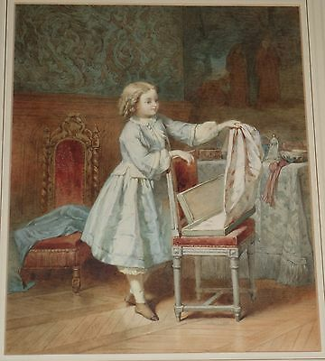 Signed Original 19th Century English School Watercolor Painting Girl in Convent