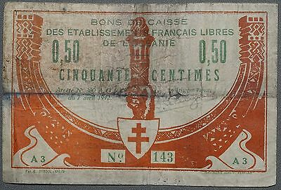 1942 French De L'Oceanie 50 Centimes Local Issue, w/ Circulat Handstamp, P-7, AG