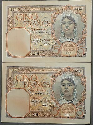 1941 France 5 Francs Algeria, Consecutive Serial Numbers - VF / XF