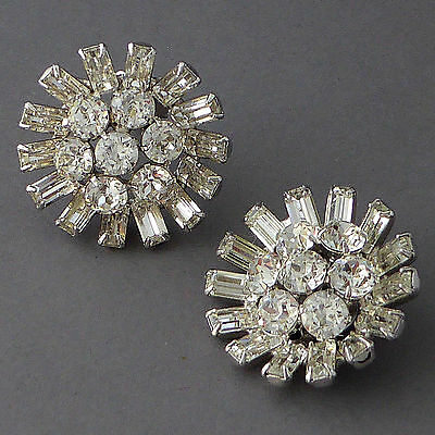 Large Vintage 50's Crystal Rhinestone Baguettes Round Earrings Clip-On