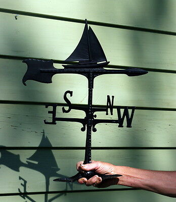 Vintage Outdoor Cast Iron Sailboat  Weather vane  Never Used  NOS