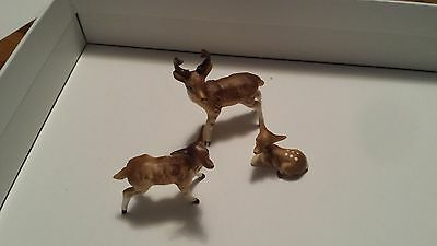 Bone China Miniature Deer Family Figurines - vintage 1960's