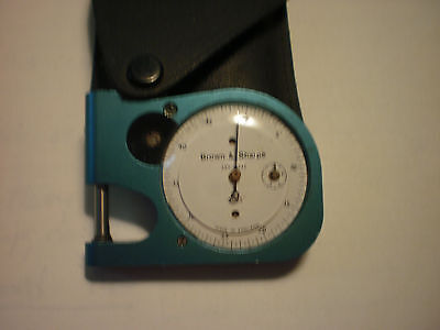 """Brown & Sharpe 1/2"""" Pocket Dial Thickness Gage Micrometer Measurement Tool/Case"""