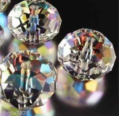 71pcs 8x10mm Multicoloured Clear +AB Crystal Faceted Loose Beads