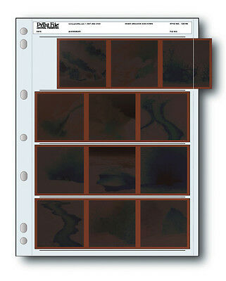 Print File Archival Storage Page for Negatives, 4-Strips of 3-Frames- 100 Pack