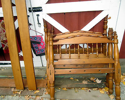 Pair of twin size antique maple rope beds circa 1830, complete with side rails