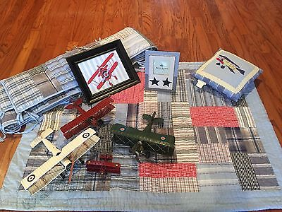 Baby Boy Nursery Quilt & Decor-Vintage Airplane-Pottery Barn Kids-Blue Denim Red