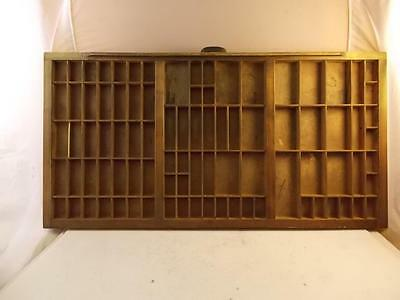 "Vintage Printers Type Cabinet Drawer Shadow Box Wooden 16"" X 32"""