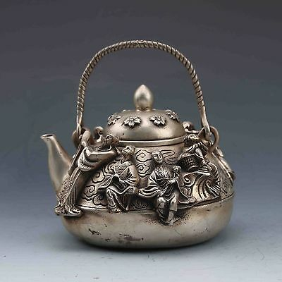 Collectible Chinese Tibetan Silver Handwork Carved Eight Immortals Teapot