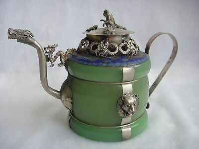 Old Chinese Handwork porcelain Tibetan silver inlay Teapot monkey lid