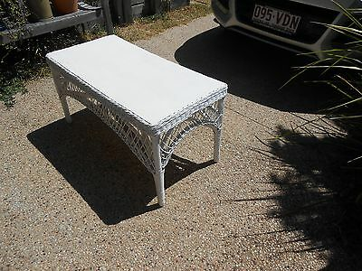 Vintage Shabby Chic Cane Bamboo Coffee, Display, Side Table - BRISBANE