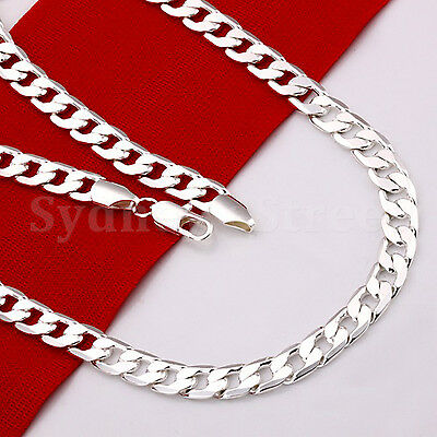 Stunning 925 Sterling Silver 4MM Classic Curb Chain Necklace Wholesale 16-30inch