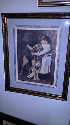 Victorian Little Girl Reading Book To Her Bloodhound Dog   PEARS SOAP