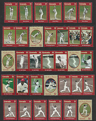 GRENADA 2000 WISDEN CRICKETERS of CENTURY Set of 33v Singles MNH