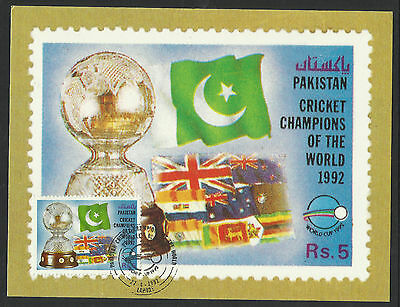 PAKISTAN 1992 CRICKET WORLD CUP Rs5 Flags MAXIMUM CARD