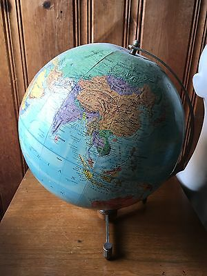 Vintage Antique Globe Mid Century Wood Metal Stand World Map