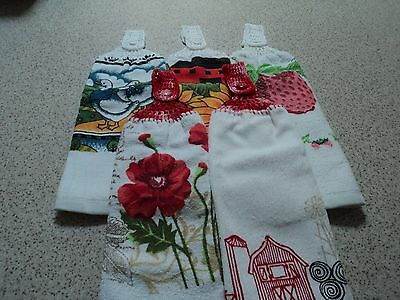 5 Hanging Hand Towels,Double sided, Crochet Tops (138)