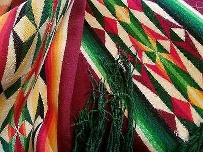 Antique Colorful Wool Indian Blanket Geometric Reversible 64X64 Cabin Western