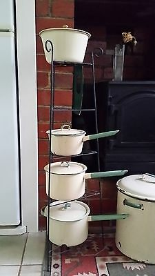 Antique Vintage Enamelware Saucepans and Stand