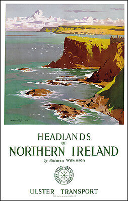 Headlands of Northern Ireland Travel Poster Wall Art Print Picture