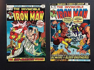 IRON MAN #54/1st MOONDRAGON #55-1st THANOS/STARLIN UK PRICE VARIANT BOTH FN+!!!