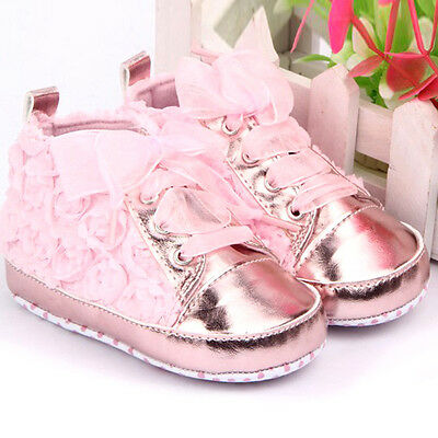0-12M Baby Girl Rose Flower Soft Sole Shoes Sneakers Boots Lace Infant Prewalker