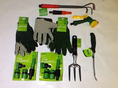Hand Tools incl.Fork,Hand Cultivator,Weeder,Gloves,Spray Gun,& Hose Acc.Set-NEW.
