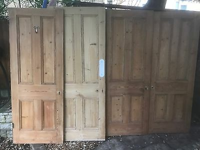 Reclaimed Edwardian/Victorian 4 panel stripped pine doors.  (4 available)