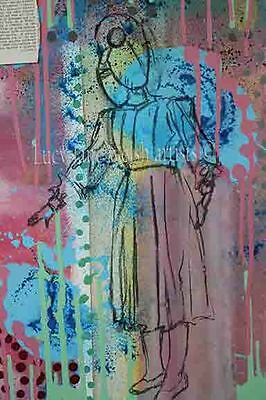 A4 print Lady with yo you - vintage inspired colour figurative art work fine art