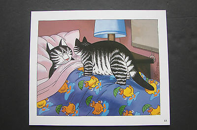 "Color Kliban Cat Cartoon Print - ""wake Up Mom "" - Kilban"