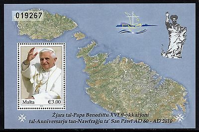 Malta 2010 Visit of Pope Benedict XVI Miniature Sheet SG MS1665 Unmounted Mint
