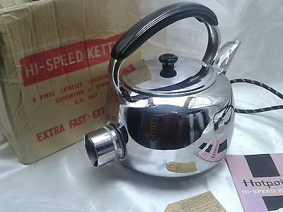 New Vintage Retro Hotpoint Chrome Plated Copper Electric Kettle