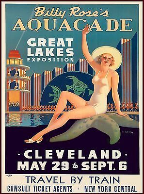 Aquacade Cleveland Ohio Vintage United States Travel Advertisement Art Poster