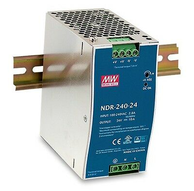 DR-120-24 replacement 240W 24V 10A - DIN Rail Power Supply NDR-240-24 - MeanWell