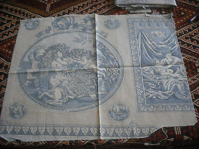 jouy Antique vintage French piece of a blue toile jouy 50cm / 37cm