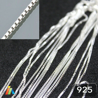 925 STERLING SILVER 0.7mm CONTINUOUS BOX CHAIN SQUARE LINK For Jewellery Making