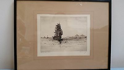 Original  etching by A Simes,James Maybery Off Arran sailing ship schooner 6781